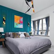 后现代风格时尚卧室背景墙装修效果图