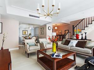 美式风格别墅室内精致客厅设计装修效果图
