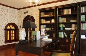 美式风格古典精致书房设计装修效果图