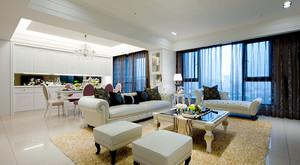 欧式风格大气淡雅三室两厅室内设计装修效果图