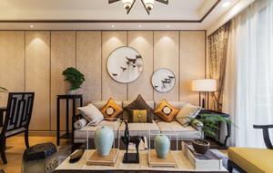 新中式风格大户型精致典雅客厅背景墙装修效果图
