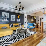 北欧风格简单时尚客厅设计装修实景图