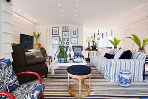 地中海风格蓝色混搭客厅设计装修效果图