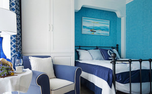 地中海风格蓝色经典卧室装修效果图