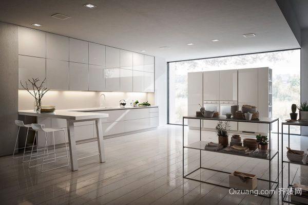 现代简约黑白时尚开放式厨房吧台装修效果图