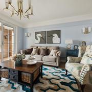 欧式风格时尚典雅客厅设计装修实景图
