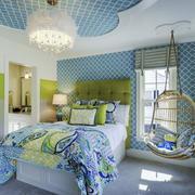 欧式田园风格清新卧室装修实景图赏析