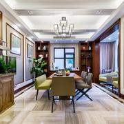新中式风格古典风精致餐厅设计效果图
