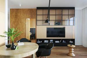 49平米现代风格精致单身公寓设计装修实景图