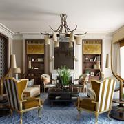 中式混搭风格精致别墅客厅装修效果图