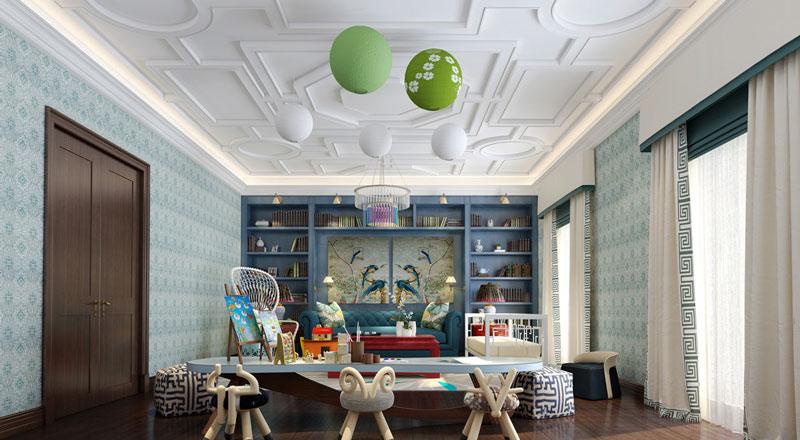 混搭风格别墅精美书房设计装修效果图