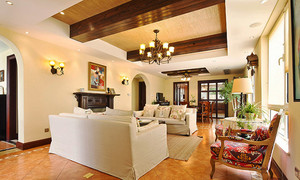 320平米美式田园风格别墅室内设计装修效果图