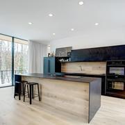 现代风格简答时尚开放式厨房吧台装修效果图
