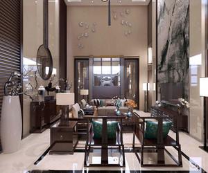 中式风格别墅古典精致客厅设计装修效果图
