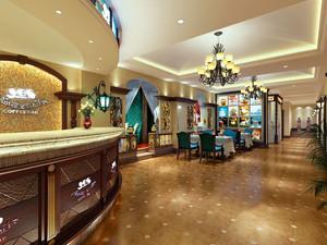 美式风格时尚西餐厅设计装修效果图