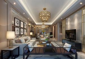 新中式风格大户型精致客厅设计效果图