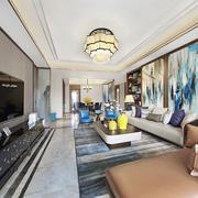 中式风格古典时尚客厅背景墙装修效果图赏析
