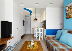 地中海风格清新蓝色两室两厅装修效果图赏析