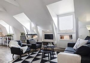 现代简约风格时尚斜顶阁楼客厅装修效果图