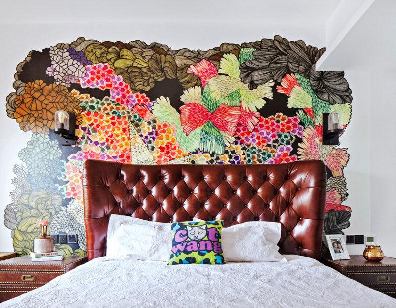 美式风格混搭民族风卧室背景墙效果图