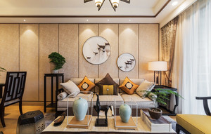中式风格素雅精美客厅背景墙装修效果图赏析