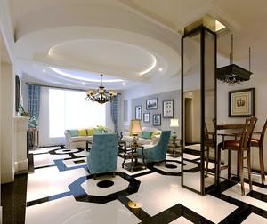美式风格精美复古三室两厅室内装修效果图赏析