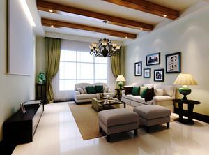 133平米美式混搭风格精致三室两厅室内装修效果图