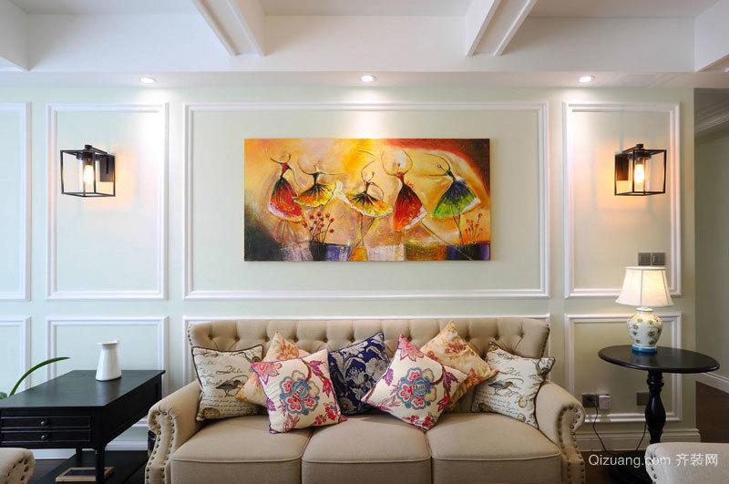 简欧风格温馨时尚客厅背景墙装修效果图