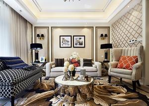 120平米欧式风格室内装修效果图案例