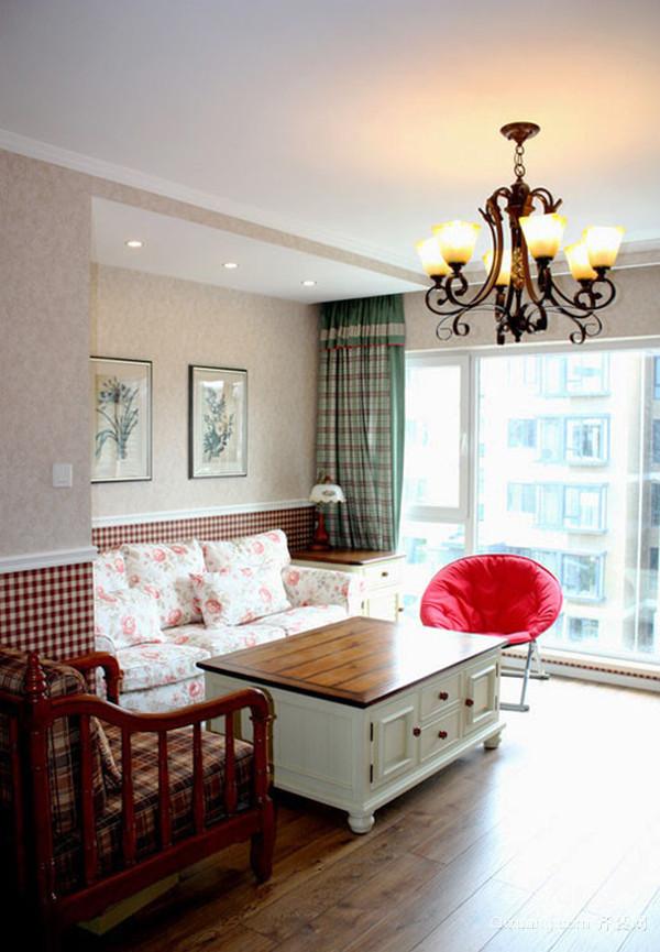 79平米田园风格温馨两室两厅室内装修效果图