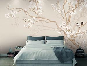 中式风格素雅卧室背景墙装修效果图