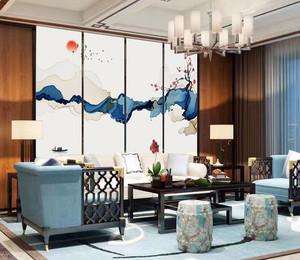 中式风格古典写意客厅背景墙装修效果图