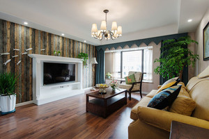 美式混搭风格精美三室两厅室内装修效果图