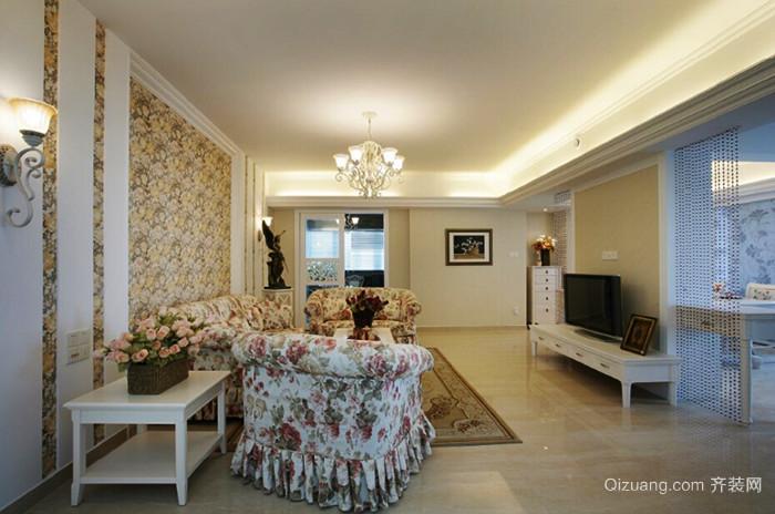欧式田园风格粉色甜美两室两厅一卫装修效果图