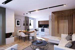 66平米现代简约风格时尚精装单身公寓装修效果图