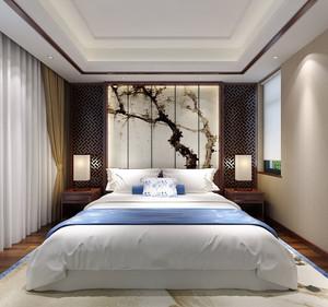 中式风格古典精致卧室背景墙装修图