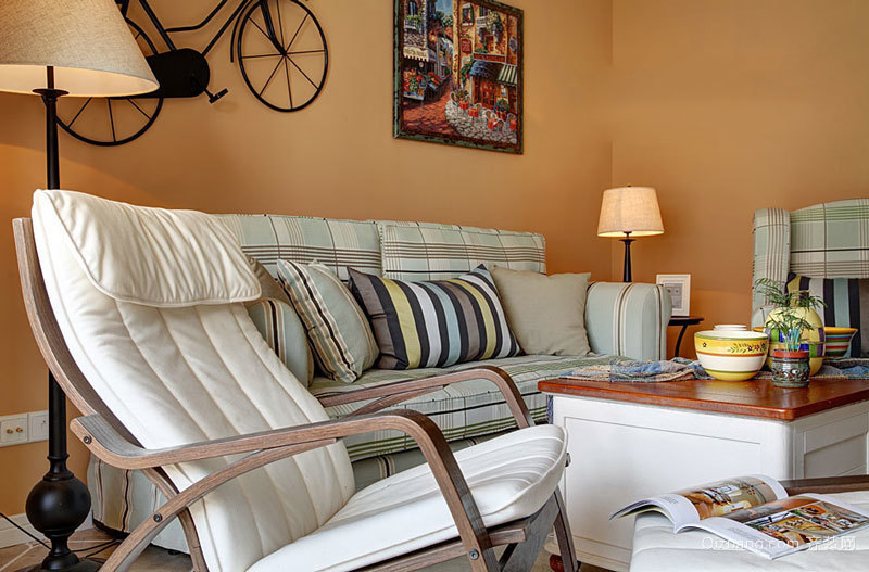 美式田园风格自然两室两厅室内装修效果图