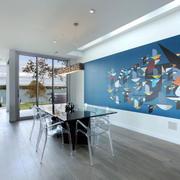 现代简约风格时尚餐厅背景墙装修效果图赏析