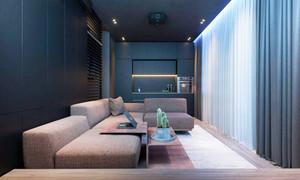 现代风格时尚冷色调单身公寓装修效果图
