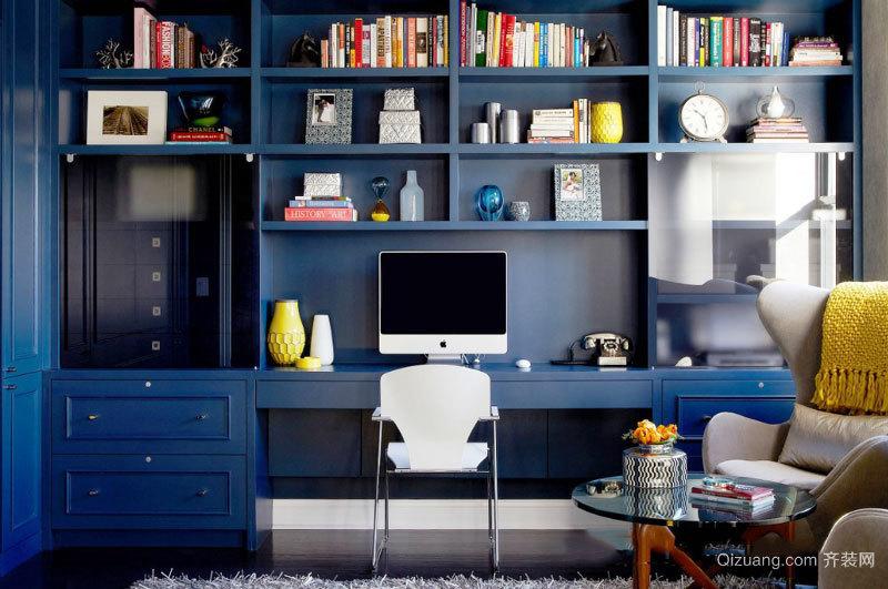 地中海风格蓝色精致书房设计装修效果图
