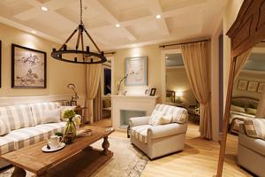 美式田园风格浅色温馨三室两厅室内装修效果图