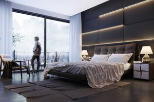 现代风格时尚卧室背景墙装修效果图大全