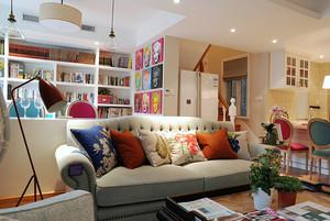 106平米田园风格清新复式楼室内装修效果图