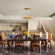 美式风格精美复式楼餐厅设计装修效果图赏析