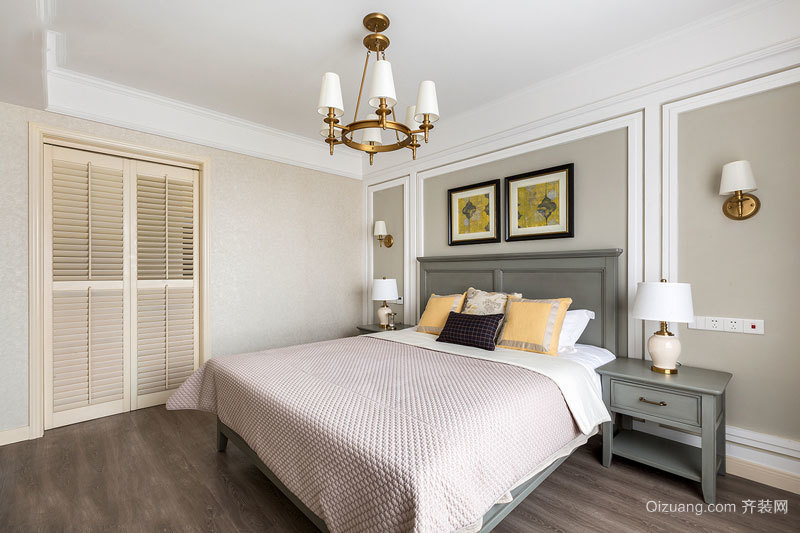 美式风格温馨浅色卧室装修效果图赏析
