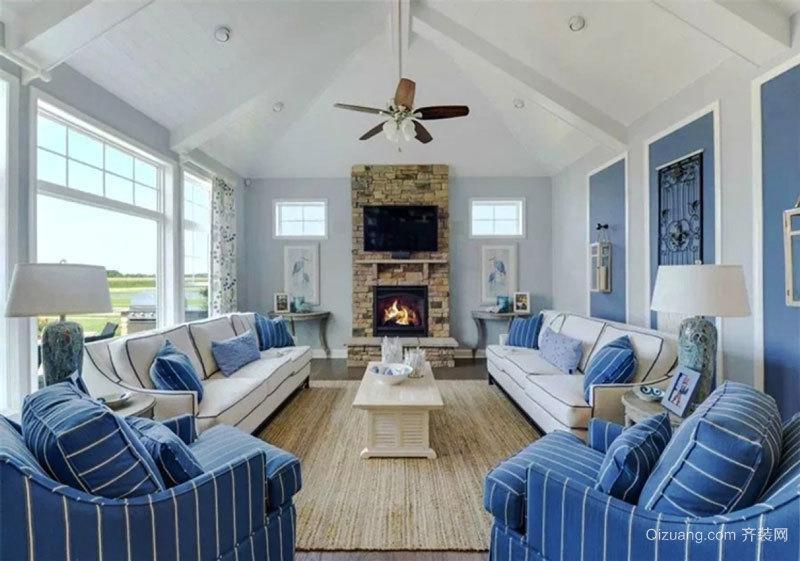 地中海风格蓝色清新别墅客厅装修效果图