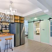 现代简约风格开放式厨房吧台装修效果图