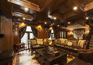 美式风格复古精致别墅客厅装修效果图