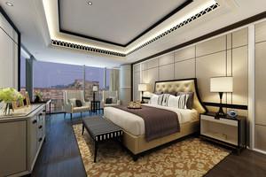 新中式风格五星级酒店客房装修效果图