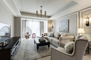 简欧风格温馨浅色客厅设计装修效果图